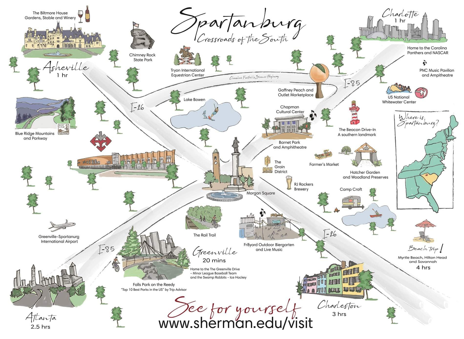 Spartanburg map